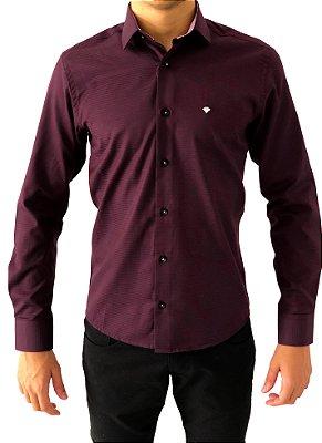 Camisa Social Bordo Tecido Premium