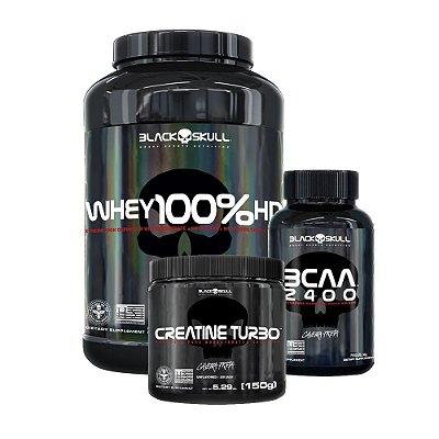 COMBO WHEY 100% HD MORANGO 900G + CREATINE 150G + BCAA 100CAPS - BLACK SKULL