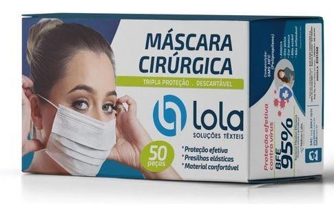 MASCARA TRIPLA C/ ELASTICO BRANCA C/50 UNI