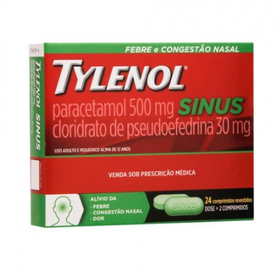 TYLENOL SINUS 500MG + 30MG C/24 CPR REV- JANSSEN-CILAG