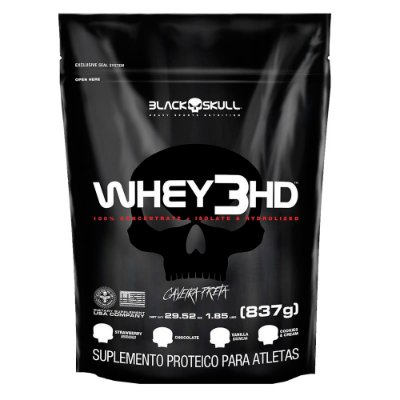 REFIL WHEY 3 HD CHOCOLATE 837G - BLACK SKULL