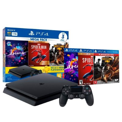 PLAYSTATION 4 SLIM 1TB C/ DREAMS, SPIDER-MAN & INFAMOUS SECOND SON