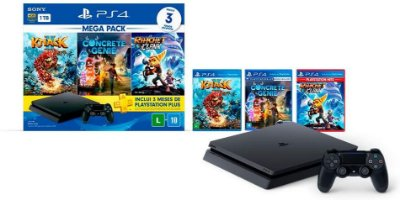 PLAYSTATION 4 SLIM 1TB C/ KNACK II, CONCRETE GENIE & RATCHET CLANK