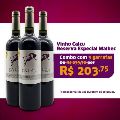 KIT 3 GRFS CALCU RESERVA MALBEC 750 ML