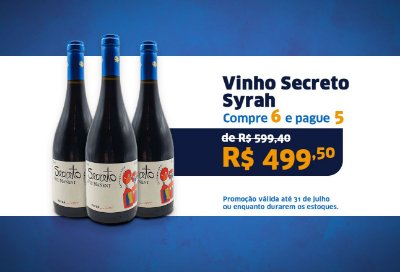 KIT 3 GRFS VINHO SECRETO SYRAH 750 ML