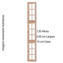 VITRÔ CAPELA 3 MOLDE CEDRO ARANA 1,50 X 0,50 CM - EM MADEIRA VIDRO COM FERRAGENS E BAGUETE COM CAIXA 16 CM