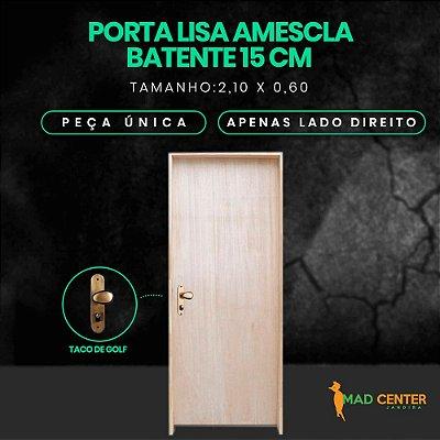 PORTA LISA AMESCLA PINTURA  - 60/70/80/90 - COM FECHADURA EXTERNA TACO DE GOLF - MONTADA COMPLETA