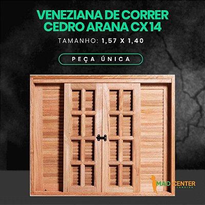 JANELA VENEZIANA DE CORRER 6 FLS - 1,57 Largura   X 1,40 altura - CX 14 - Cedro Arana
