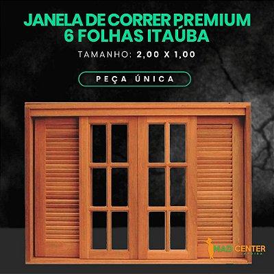JANELA DE CORRER 6 fls PREMIUM ( VENEZIANA )  2,00 Largura x 1,00 Altura - ITAÚBA BATENTE 14 CM