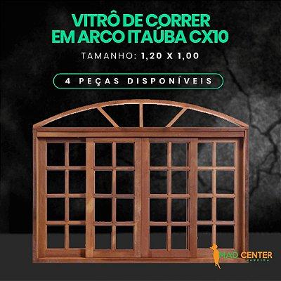 VITRÔ DE CORRER QUADRICULADO 1,00 X 1,20 EM ARCO PREMIUM EM ITAÚBA/IMBUIA CAIXA 10 CM