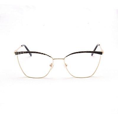 Armação para Óculos de Grau Feminino Metal Gatinho Dourado com Estampa Preta