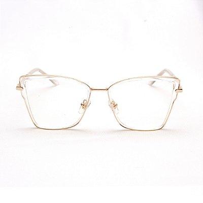 Armação para Óculos de Grau Feminino Gatinho Acrílico Transparente com Metal
