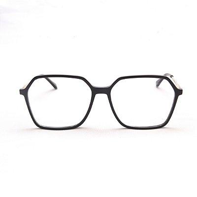 Armação para Óculos de Grau Feminino Retangular Grande Acetato Preto com Haste de Metal