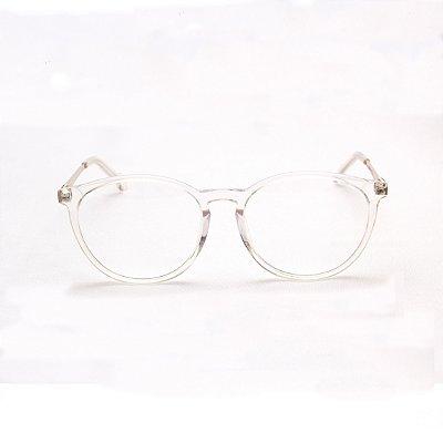 Armação para Óculos de Grau Feminino Acetato Oval Transparente Ponte Fechadura