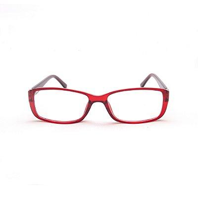 Armação para Óculos de Grau Feminino Acetato Vermelho Retangular