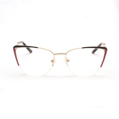 Armação para Óculos de Grau Feminino Metal Gatinho Marrom com Rosa