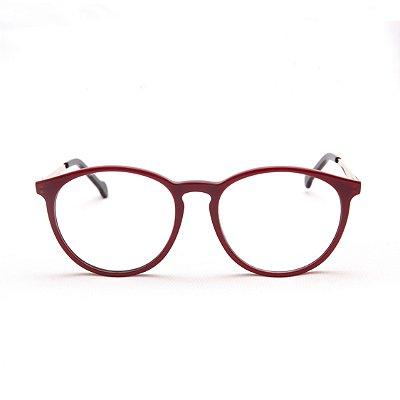Armação para Óculos de Grau Feminino Acetato Oval Vermelho com Preto Ponte Fechadura