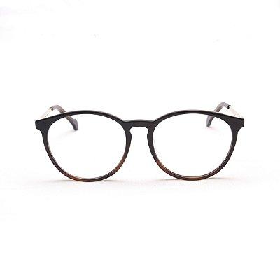Armação para Óculos de Grau Feminino Acetato Oval Marrom Ponte Fechadura