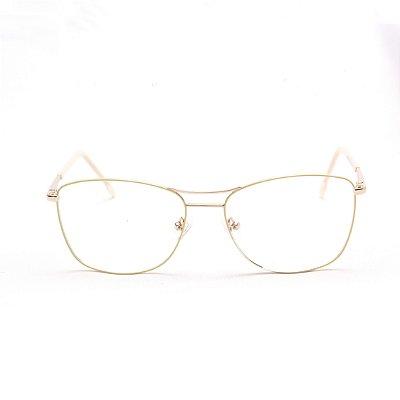Armação para Óculos de Grau Feminino Metal Retangular Prata com Amarelo