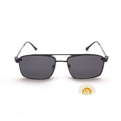 Armação para Óculos de Grau Clip'on Masculino Metal Preto Retangular