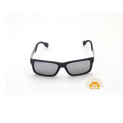 Óculos de Sol Retangular Preto Fosco Lente Espelhada Prata Afrikan