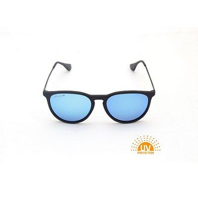 Óculos de Sol Erika Preto Lente Espelhada Azul Afrikan