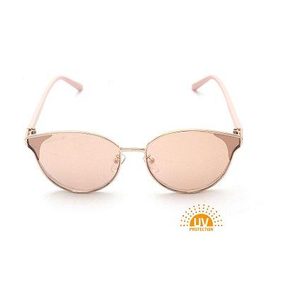 Óculos de Sol Gatinho Metal Dourado Lente Espelhada Rose Afrikan