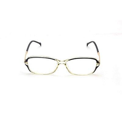 Armação para Óculos de Grau Retangular Acrílico Preto e Dourado