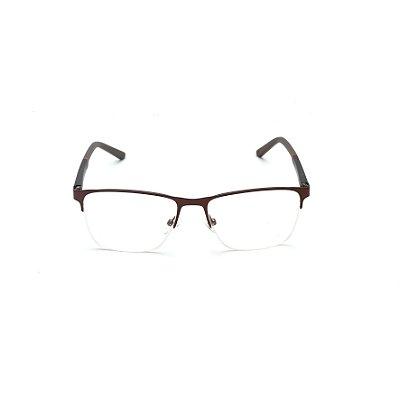 Armação para Óculos de Grau Retangular Metal Marrom Fio de Nylon Afrikan