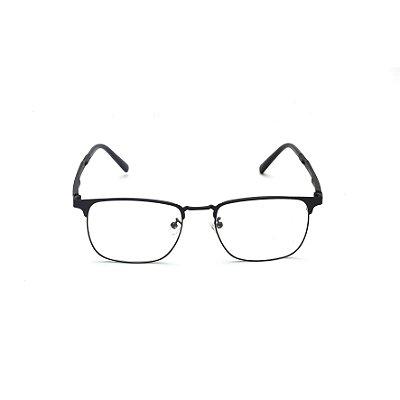 Armação para Óculos de Grau Clip-on Retangular Metal Preto Afrikan