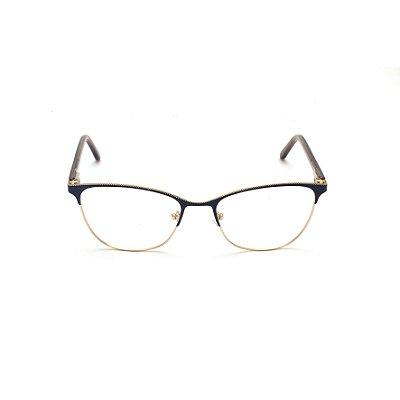 Armação para Óculos de Grau Feminino Metal Azul Marinho com detalhe Frontal Afrikan
