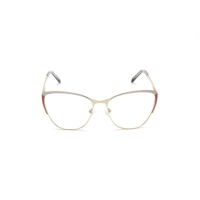 Armação para Óculos de Grau Gatinho Metal Bicolor (Branco e Rosa) Afrikan
