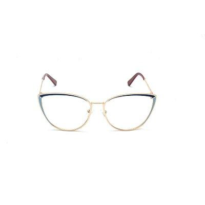Armação para Óculos de Grau Gatinho Metal Azul Afrikan