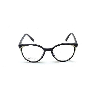 Armação para Óculos de Grau Redondo Preto com detalhe Branco Afrikan