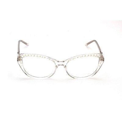 Armação para Óculos de Grau Gatinho Transparente detalhes Dourado
