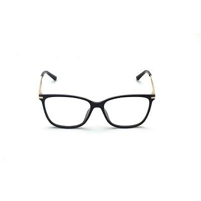Armação para Óculos de Grau Quadrado Preto Verniz Afrikan