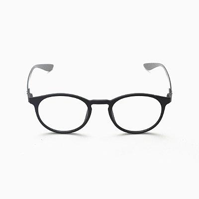 Armação para Óculos de Grau Afrikan Redondo Titanium Preto Afrikan