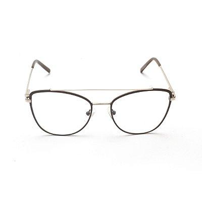 Armação para Óculos de Grau Metal Nude Ponte Dupla Afrikan