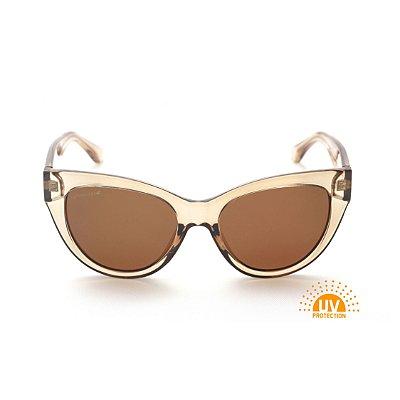 Óculos de Sol Feminino Gatinho Acrílico Dourado Lente Marrom