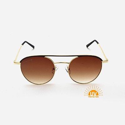 Óculos de Sol Feminino Redondo Ponte Dupla Metal Dourado Lente Marrom Modelo Round