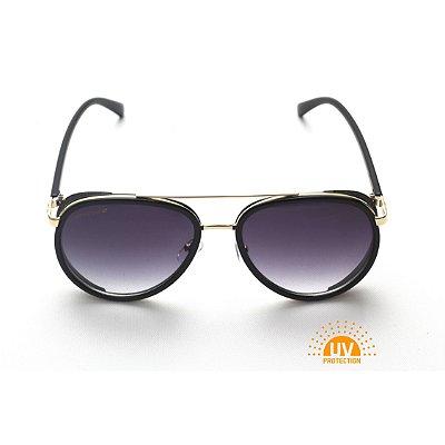 Óculos de Sol Feminino Modelo Aviador Preto com Detalhe Lateral