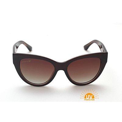 Óculos de Sol Feminino Gatinho Acetato Marrom Lente Marrom