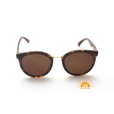 Óculos de Sol Feminino Redondo Acetato Estampa Onça Lente Marrom