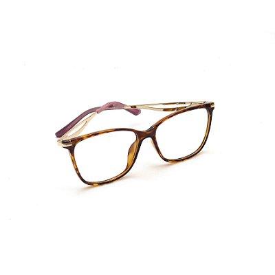 Armação para Óculos de Grau Retangular Estampa Tartaruga Marrom