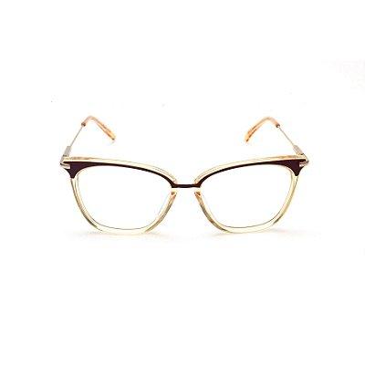 Armação para Óculos de Grau Quadrado Acrílico Dourado com Detalhe em Marrom