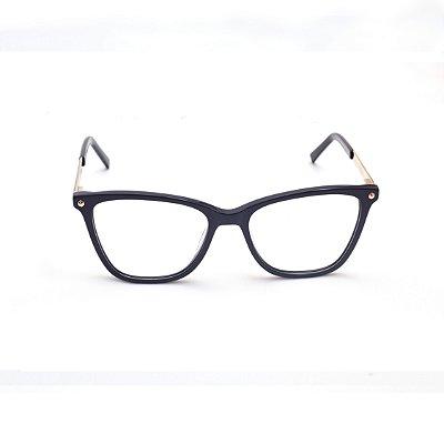 Armação para Óculos de Grau Feminino Quadrado Preto Afrikan