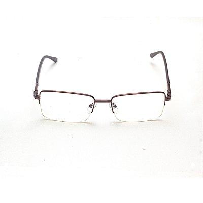 Armação para Óculos de Grau Retangular Fio de Nylon Metal Marrom