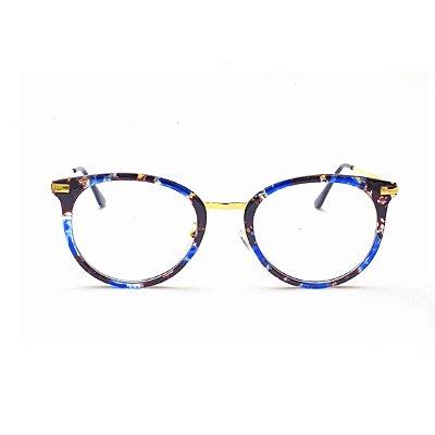 Armação para Óculos de Grau Feminino Estampa Azul e Marrom Lari