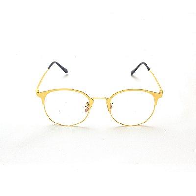 Armação para Óculos de Grau Feminino Redondo Metal Dourado Rafaela