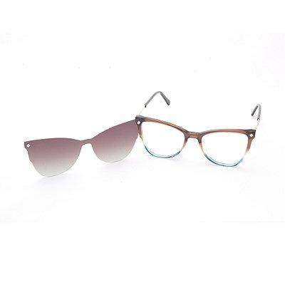 Óculos Clip-On Feminino Acetato Marrom e Azul